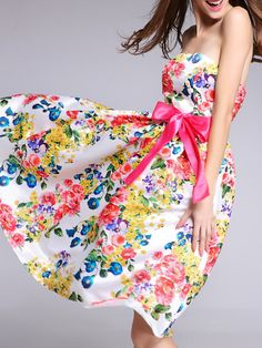 0abb1856c171 Shop White Strapless Backless Tie-Waist Floral Dress at victoriaswing
