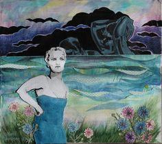 By: Satu Laaninen Herkkupurkki: kollaasi pikkukimalainen.blogspot.com  drawing, portrait,collague, shame, fear, scape goat, victim, desperate, broken heart, narcism, marttyyri