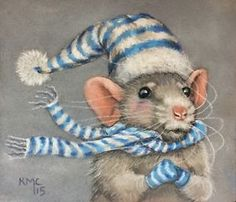 KMCoriginals-Rat-hat-mittens-scarf-cold-windy-winter-original-pastel-art-drawing