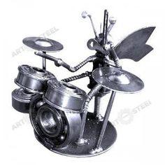 "Hand-Made Bee Playing Drums (4\"") - Scrap Metal Sculpture | artfromsteel - Metal Craft on ArtFire"