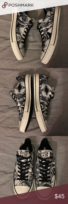Floral converse NWB Black and white floral converse. Size 8.5 men's women's 10.5 Converse Shoes Sneakers