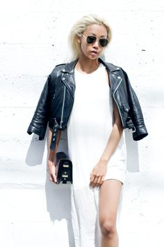 The Haute Pursuit jut killing it in this ADDISON dress. #white #dress #blonde #blogger #platinum #motojacket #style