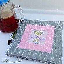 Úžitkový textil - Pod šálku Lavender v šedej - 7004273_