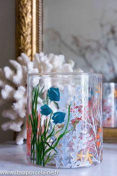 Peinture sur verre Vase Marin