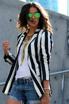 Loveeee the striped cream and black blazer and shorts.   http://thecourtneykerr.com