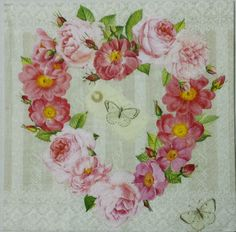 FLORAL HEART WREATH   2 single LUNCH size paper napkins for decoupage 3-ply