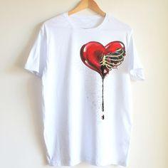 Heart  love handpainted t-shirt unique shirt art by Dariacreative