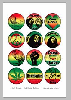 Bilder von Rasta Bottlecap / Marley, Freiheit, eine Liebe, Rastafari, afrikanische / druckbare digitale Collage 1-Zoll-Circles / Instant Download