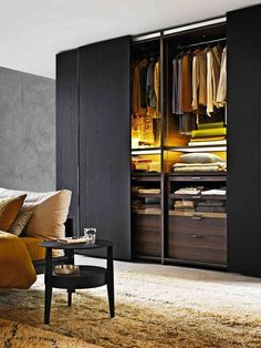 53 Elegant Closet Design Ideas For Your Home. Unique closet design ideas will definitely help you utilize your closet space appropriately. An ideal closet design is probably the only avenue . Wardrobe Design Bedroom, Closet Bedroom, Modern Wardrobe, Wardrobe Ideas, Closet Ideas, Closet Wall, Bedroom Storage, Black Wardrobe Closet, Build Wardrobe