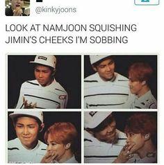 Aww u smol Jimin / Appajoon appreciating his precious child | BTS - Namjoon, Jimin