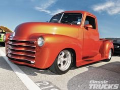 1951 Chev 3100 pu. Love the orange pearl and the grille treatment.  Always looking for ideas to improve my own.