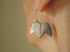 Sterling Silver Lotus Petal Earrings by CeebWassermann on Etsy, $90.00