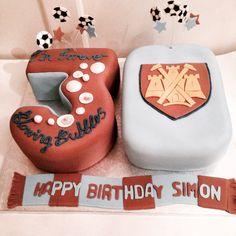 West Ham 30th cake 30th Cake, Happy Birthday, Birthday Cake, West Ham, Novelty Cakes, Cake Ideas, Cake Decorating, Cookies, Baking