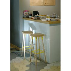 Marco Beech and Steel Barstool with Cork Seat - 70CM - 6 Colours