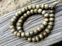 8mm Round Bone Beads, Handcrafted Olive Green Cream Brown Color, Boho Tribal…