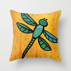 Dragonfly Throw Pillow by claudineintner Bright Colors, Art Decor, Colorful, Throw Pillows, Stuff To Buy, Painting, Toss Pillows, Bold Colors, Painting Art