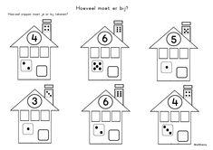 Rekenen - tellen - hoeveel stippen moet je er bij tekenen?