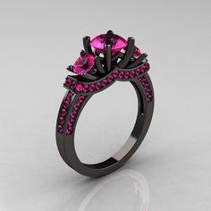 French 14K Black Gold Three Stone Pink Sapphire...omg I want!!!