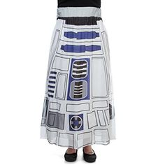 """Incorporate more Artoo into your closet with this R2-D2 Maxi Skirt. The design's printed on a sheer layer of fabric over a white gauzy built-in slip, and it has a comfortable 2 1/2"""" tall covered elastic waistband."""