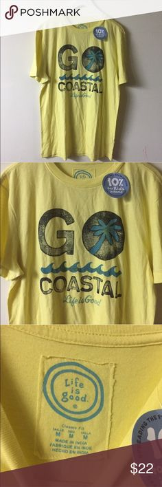 life is good classic fit go coastal yellow shirt New with tags Life is Good Tops Tees - Short Sleeve