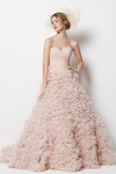 Blush Pink Ruffly Palm Springs Wedding Dress By Watters | Bridal Musings | A Chic and Unique Wedding Blog