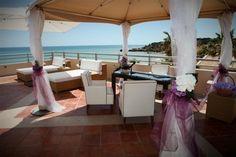 Purple White wedding ceremony Algarve Portugal by Algarve Wedding Planners