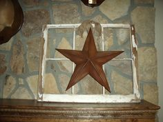 Old window pane with star