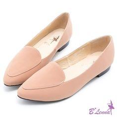 BLenna典雅百搭極簡素面小尖頭樂福鞋*粉膚色