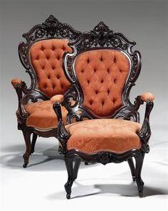 JW Meeks Rococo Revival Chairs.