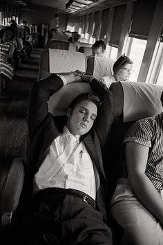 Asleep on the Train by Al Wertheimer - Elvis photographs