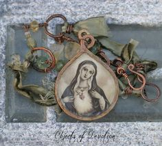 Beloved - Sacred Heart of Mary - Vintage Religious Assemblage Necklace - Religious Jewelry - Catholic Jewelry - Spiritual Jewelry. $277.00, via Etsy.