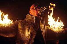 Rammstein lead singer on fire