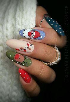 Christmas Gel Nails, Xmas Nail Art, Christmas Nail Art Designs, Fall Nail Designs, Cute Nail Designs, Holiday Nails, Acrylic Nail Designs, Fall Nails, Christmas Design