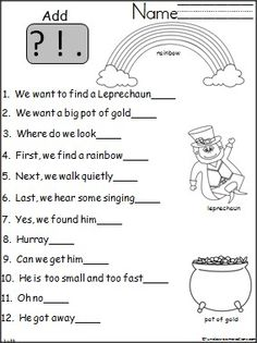 Patrick's Day Punctuation Practice Student's practice writing end marks with this St. {freebie}Student's practice writing end marks with this St. Teaching Activities, Classroom Activities, Punctuation Worksheets, St Patrick Day Activities, Kindergarten Writing, Literacy, First Grade Writing, Writer Workshop, Writing Practice