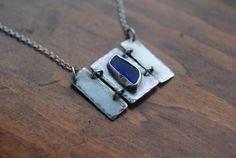 Cobalt Blue Beach Glass Set in Sterling Silver by ihanajewelry