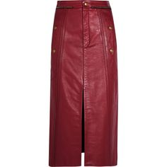 Chloé Leather pencil skirt ($2,020) ❤ liked on Polyvore featuring skirts, bottoms, chloe, button pencil skirt, chloe skirt, red pencil skirt, knee length pencil skirt and real leather skirt