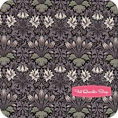 The Morris Apprentice Damask Black Tulip - fatquartershop.com.    Love their William Morris prints