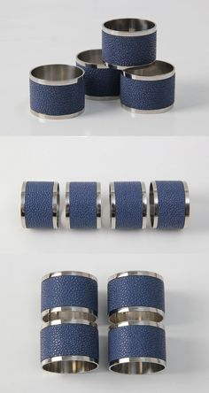Stylish napkin rings in Nile blue designer shagreen will add luxe and charm to any dining table setting. Perfect Christmas Gifts, Blue Nile, Christmas Inspiration, Furnitures, Napkin Rings, Tabletop, Dining Room, Stainless Steel, Luxury