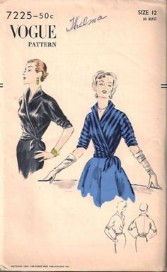 Vintage 1950s Vogue 7225 Easy-to-Make Wrap Blouse #1950s
