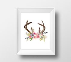 SALEPM Floral Antlers Shabby Stylish BOHO Child Woman Nursery - http://babyfur.net/salepm-floral-antlers-shabby-chic-boho-baby-girl-nursery/