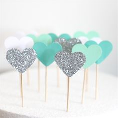 12 Love Heart Cupcake Toppers - Silver Glitter, Mint, Turquoise and White | Little Paper Stand | madeit.com.au