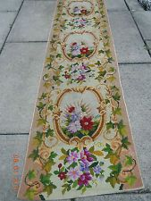 OLD French Floral Garland, Bouquets, and Medallion Tapestry Needlepoint Runner
