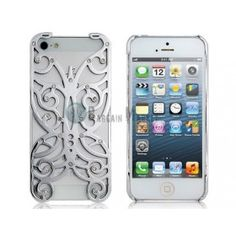 Cut-Out Butterfly Protective Case with Crystal for iPhone 5 (Silver)