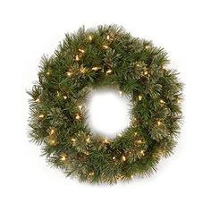 """48"""" Pre-Lit Atlanta Mixed Cashmere Pine Artificial Christmas Wreath - Clear Lights ** Additional details @"""