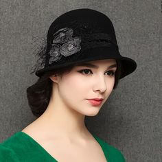 Charming flower cloche hat for women bowler trilby winter hats
