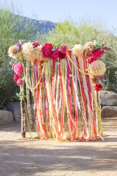 Paper flowers, streamers/ribbons, sequins, twinkle lights - in purple and pink and gold. Use as the ceremony backdrop, then as the photo booth backdrop Party Kulissen, Festa Party, Party Time, Party Snacks, Diy Wedding, Wedding Ceremony, Wedding Pics, Wedding Ideas, Ribbon Wedding