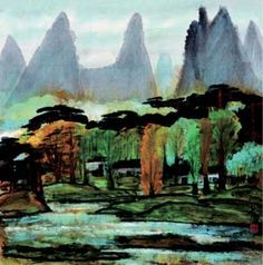 LIN FENGMIAN (1900~1991)LANDSCAPE Color and ink on paper, mounted Dated 1985 68×66.5cm 林風眠(1900~1991) 風景 設色紙本 鏡片 1985年作 款識:林風眠。 鈐印:林風瞑印(朱)