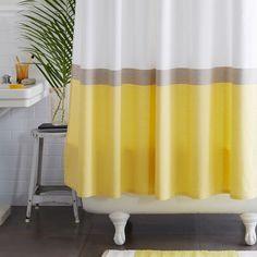 Horizon Stripe Shower Curtain, Citron - contemporary - shower curtains - by West Elm Room Accessories, Contemporary Shower, Bathroom Decor, Curtains, Shower Curtain, White Shower, Bathroom Furniture Modern, White Shower Curtain, Shower Tub