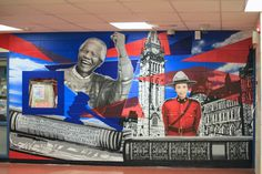 Applewood hts SS School Mural depicting Social studies with Nelson Mandela School Murals, Nelson Mandela, Change The World, Social Studies, Ss, Custom Design, Education, Painting, Painting Art