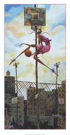 AFRICAN AMERICAN ART PRINT The Extra Mile Levon Lewis